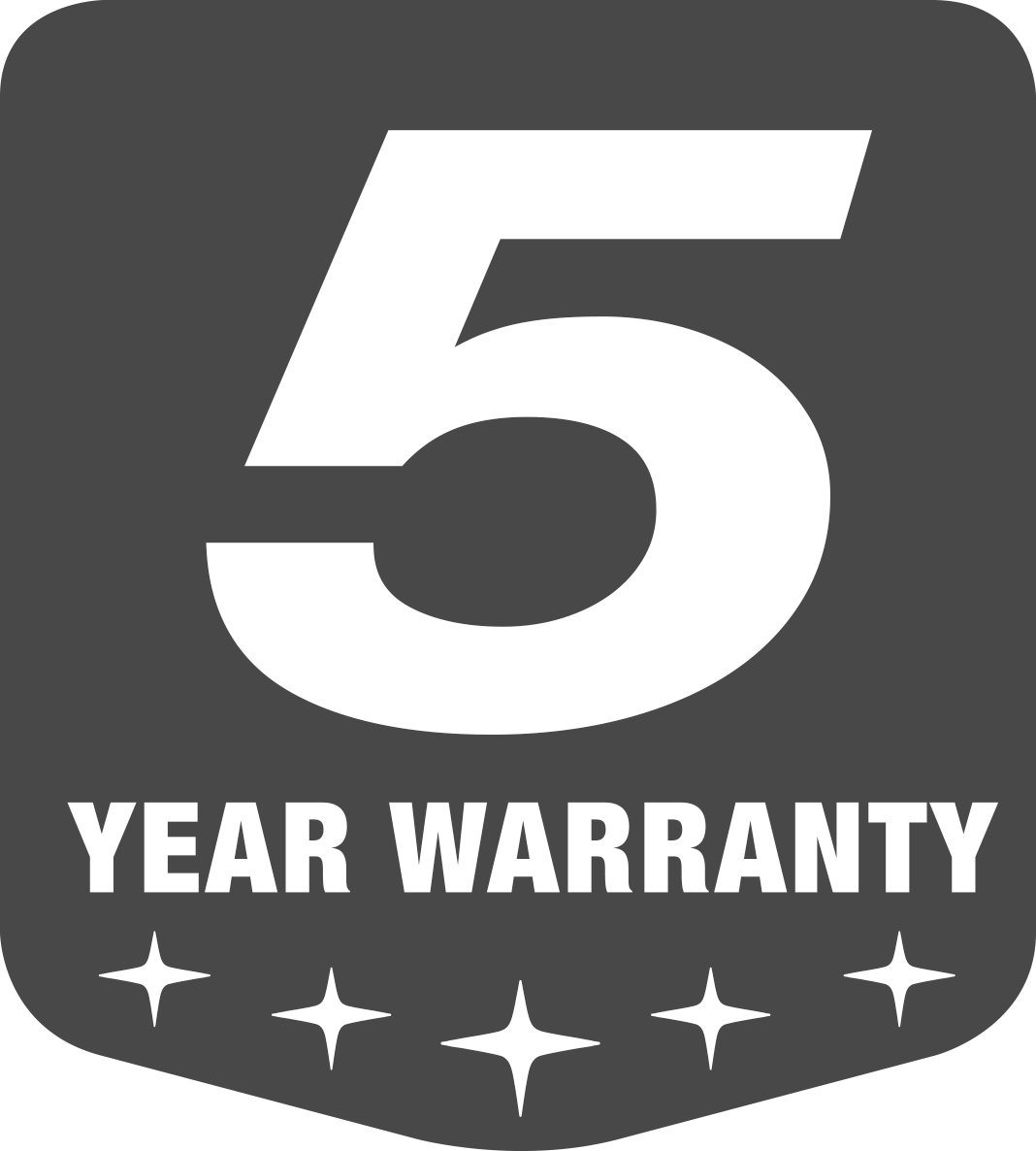 Subru 5-Year Warranty logo balck and White